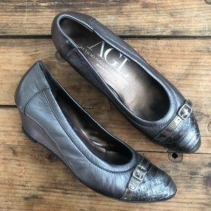 AGL 36.5 Grey Metallic Cap Toe Wedge Shoes